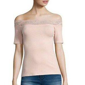 Decree Pink Off Shoulder Lace Neckline Top Large